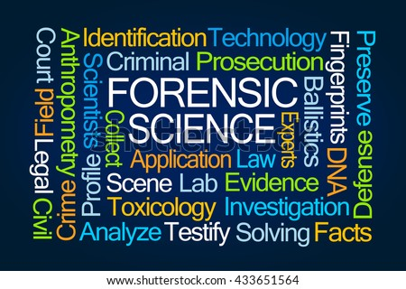 Forensic Science Word Cloud on Blue Background - stock photo