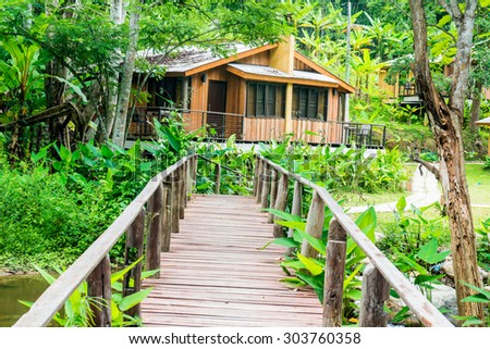 Forest and holiday homes in country, Thailand.
