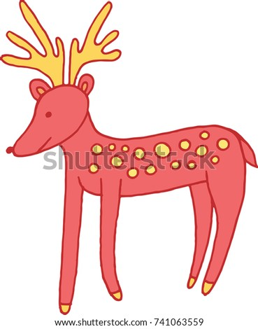 forest animal deer doodle cartoon simple illustration kids drawing style raster illustration