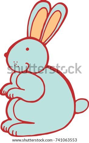 Forest Animal Rabbit Doodle Cartoon Simple Illustration Kids Drawing Style Raster