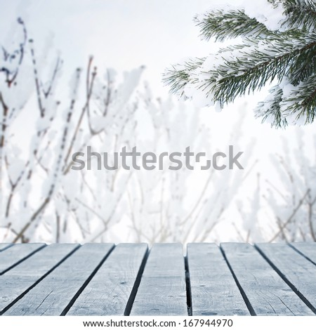 Forest background and wooden walkway - stock photo
