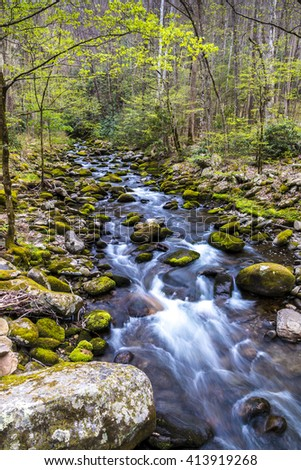 Forest creek. Water cascades over moss covered rocks in Great Smoky Mountains National Park. - stock photo