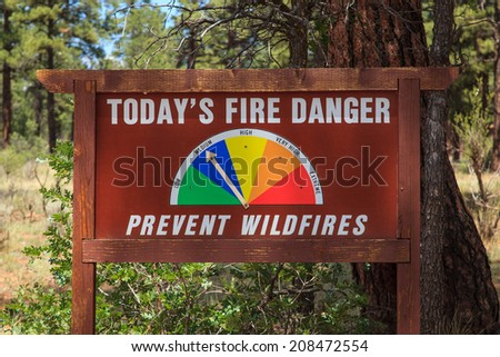 Forest Fire Danger Sign Kaibab National Forest Tusayan, Arizona  - stock photo