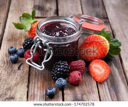 Forest fruit jam - stock photo