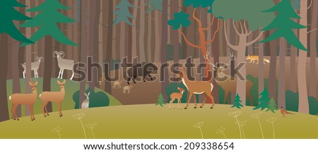Forest full of animals - stock photo