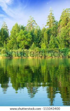 Forest lake under blue cloudy sky - stock photo