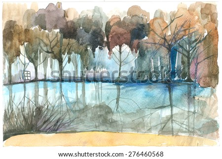 Forest lake. Watercolor the image. - stock photo