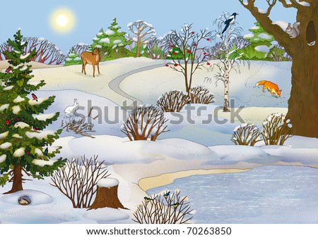 forest landscape with a lake and animals in winter - stock photo