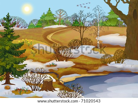 forest landscape with meadows and a lake in the spring - stock photo