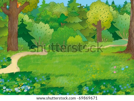 Forest landscape with paths and a squirrel - stock photo