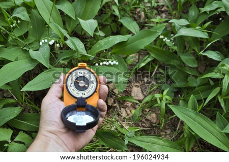 Forest, may, walk in the woods. Compass in hand, against the background of blooming lilies. - stock photo