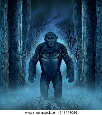 Forest monster concept with a werewolf lurking as a bigfoot creature coming out of a dark scary background with a moon glow behind it as a halloween horror symbol of haunted woods animal. - stock photo