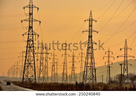 forest of poles voltage interconnected through a network of cables - stock photo