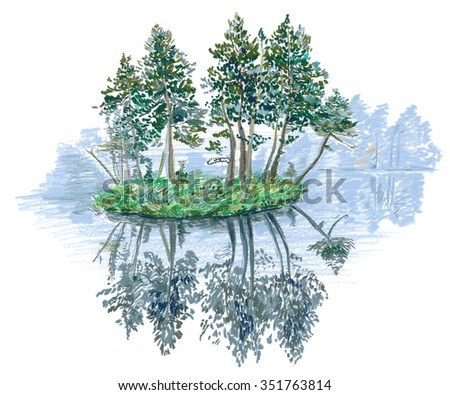 Forest on the island in the fog, drawing  - stock photo