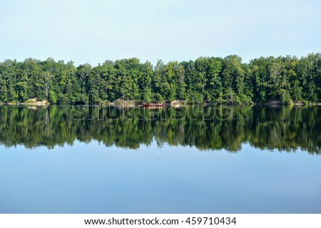 Forest reflected in the river