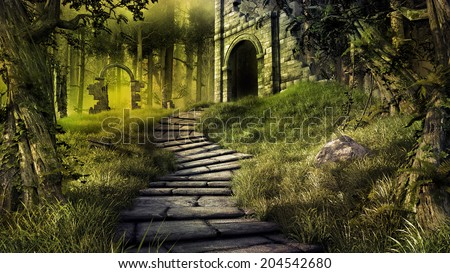 Forest scene with old castle ruins - stock photo