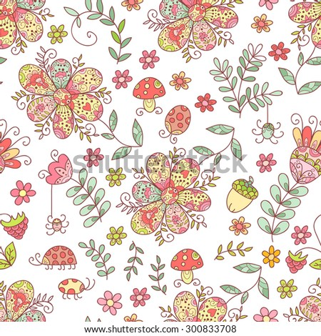 Forest seamless pattern. Doodle background with flowers, leafs, bugs. Cute print background. Cartoon background.