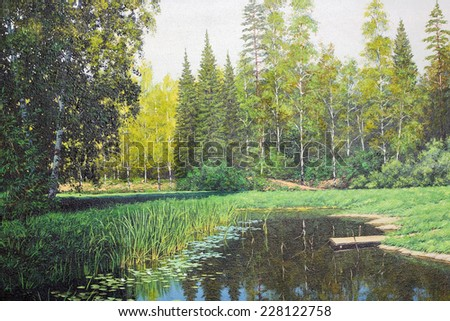 Forest small lake  abstract landscape. Art painted oil illustration on rough canvas