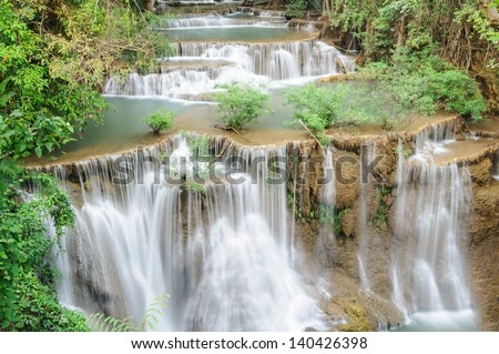 Forest Stream and Waterfall  in thailand ?? - stock photo