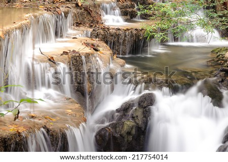 Forest Stream and Waterfall in thailand - stock photo
