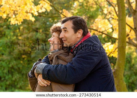 forest walking older happy two people - stock photo