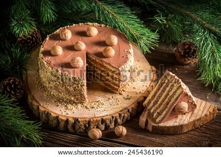 Forest Walnut cake served on wood - stock photo