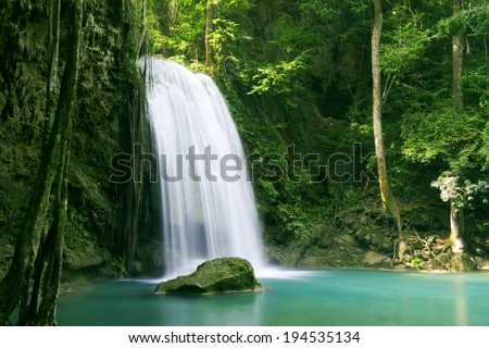 Forest waterfall at Erawan waterfall National, Kanjanaburi - stock photo