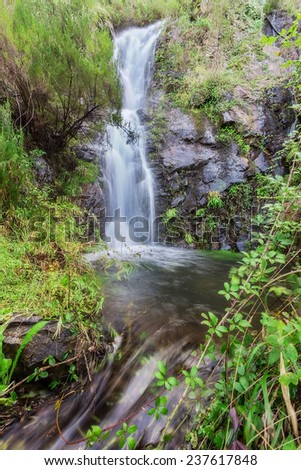 Forest waterfall in Monchique Algarve. Autumn, Chilrao, Portugal.