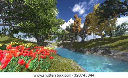 forest with flowers and blue rivers landscape render illustrations