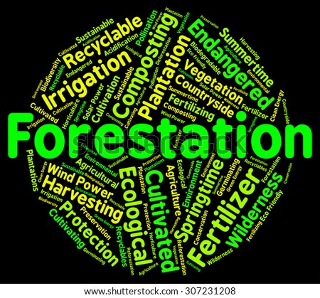 Forestation Word Indicating Text Trees And Park