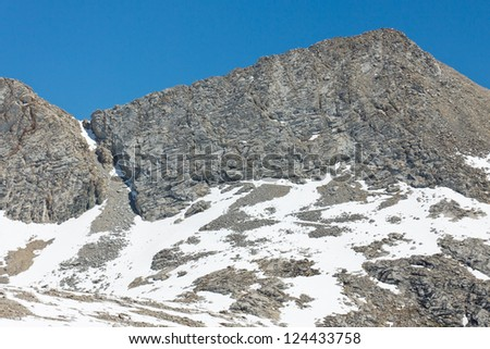 Forester Pass in the Sierra Nevada. Close up view of the highest mountain pass on the John Muir Trail and the Pacific Crest Trail marking the border between Sequoia and Kings Canyon National Park. - stock photo