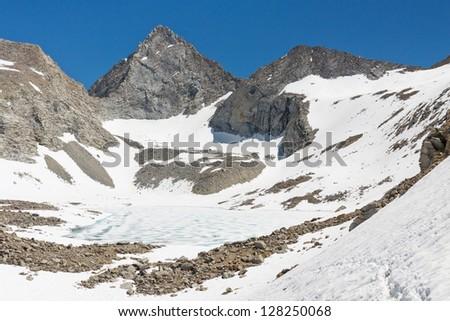Forester Pass, Sierra Nevada - The highest mountain pass on the John Muir Trail, California, USA. - stock photo