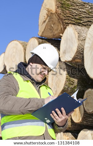 Forester writing near  at the log pile - stock photo