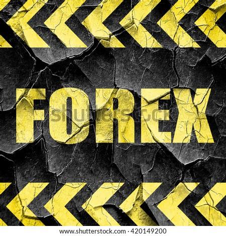 Forex, black and yellow rough hazard stripes - stock photo
