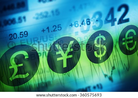 Forex Currency Trading Concept. Financial Markets and Global Economy Concept. United Kingdon Pund, European Euro, American Dollar and Japanese Yen Currency