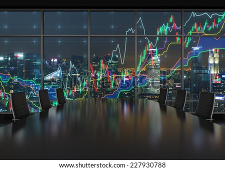 Forex graph and an amazing night view of the business city area. A metaphor of international financial consulting. - stock photo