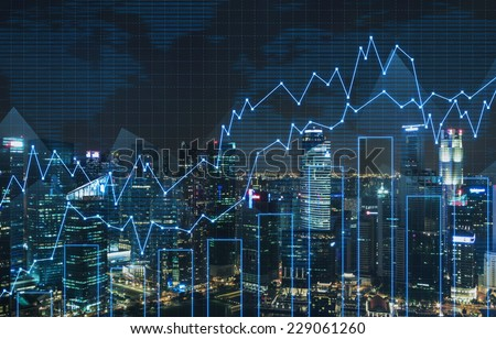 Forex graph and an amazing night view of the business city centre. A metaphor of international financial consulting.  - stock photo