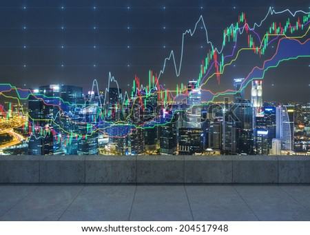Forex graph and an amazing night view of the city center. A metaphor of international financial consulting. - stock photo