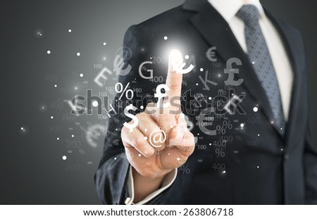 Forex. Investment concept. Pretty business woman with currency symbols. - stock photo