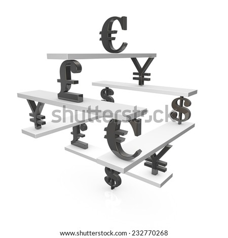 Forex trading and currency change concept with most popular currencies symbols and scales, illustration isolated on white background. - stock photo