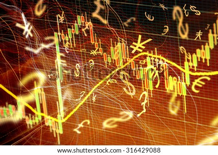 Forex trading background concept with currency symbols - stock photo