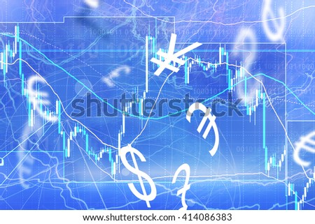 Forex trading background concept with currency symbols