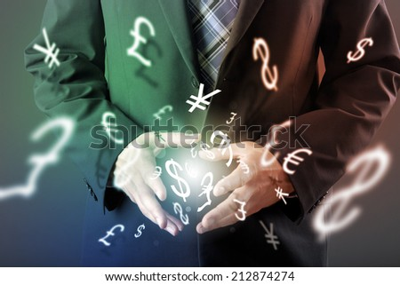 Forex trading concept with hands of businessman - stock photo