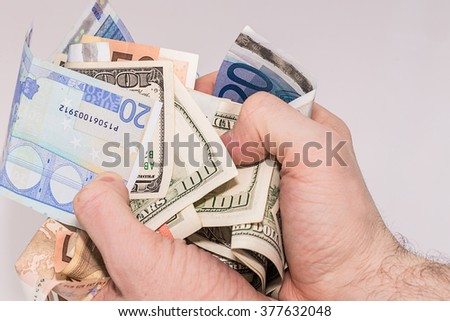 Forex. Up trend arrow made from one hundred USA dollar bills. - stock photo