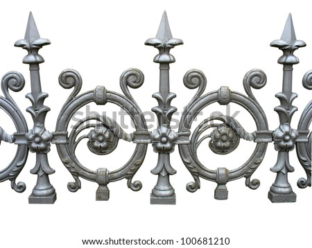 Forged decorative fence isolated over white background - stock photo