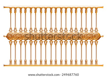Forged decorative gate ornament isolated on white background - stock photo