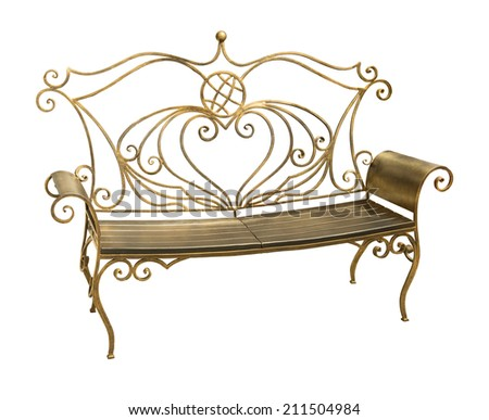 Forged iron park bench with ornate pattern in shape of heart isolated on white background with clipping path  - stock photo