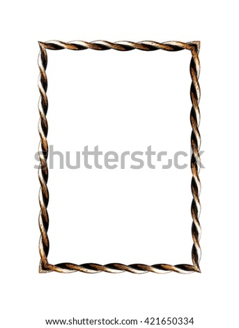 Forged metal frame isolated on white background - stock photo