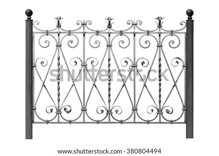 Forged steel  fence with  Ornaments . Isolated over white background. - stock photo