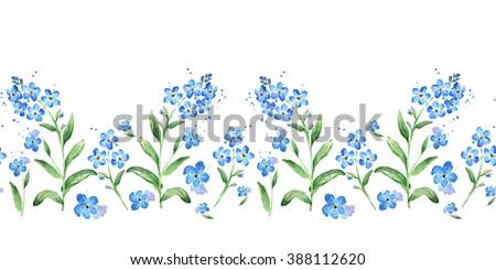 forgetmenot seamless watercolor horizontal border seamless stock rh shutterstock com May Flowers Clip Art Bluebonnet Clip Art Leaves